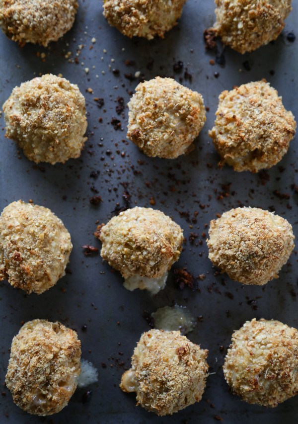 roasted brussel sprout quinoa bites stuffed with gruyere