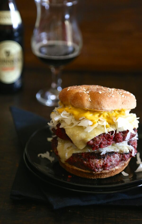 St. Paddy's Corned Beef Burgers with Irish Cheddar Cheese www.climbinggriermountain.com
