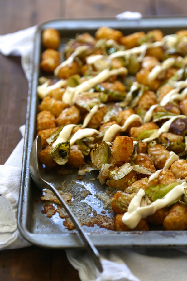 Roasted Brussel Sprout Totchos with Lemon Aioli www.climbinggriermountain.com