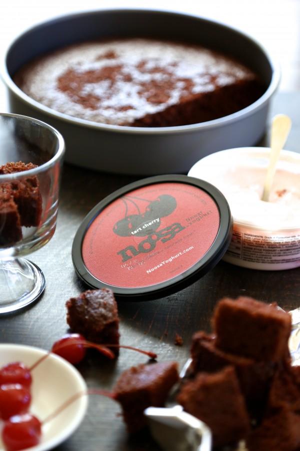 tart cherry yoghurt chocolate cake trifle with chocolate ganache