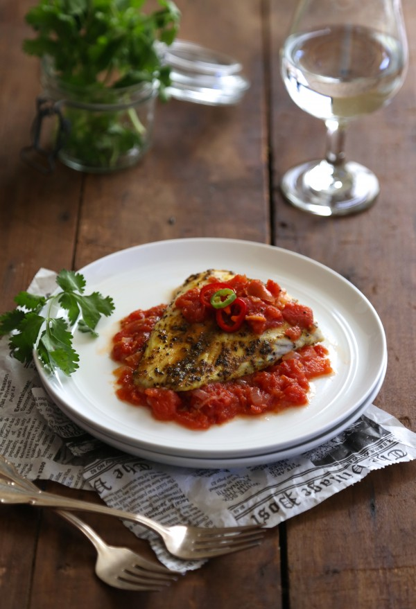 curry spiced barramundi with tomato-ginger sauce www.climbinggriermountain.com