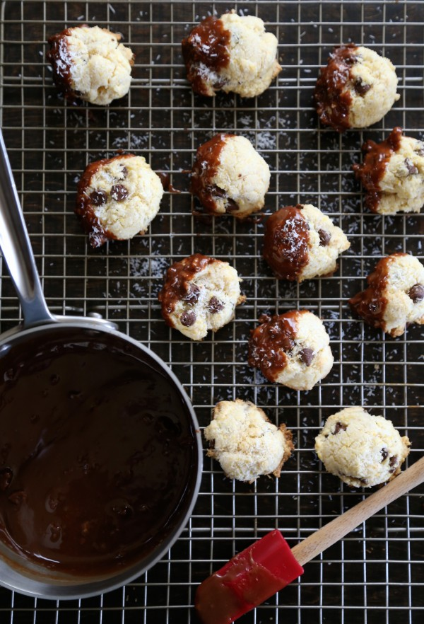 dark chocolate coconut biscotti bites with cadbury creme ganache