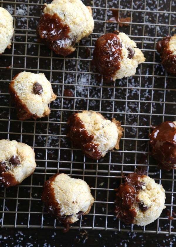Dark Chocolate Coconut Biscotti Bites with Cadbury Creme Ganache www.climbinggriermountain.com