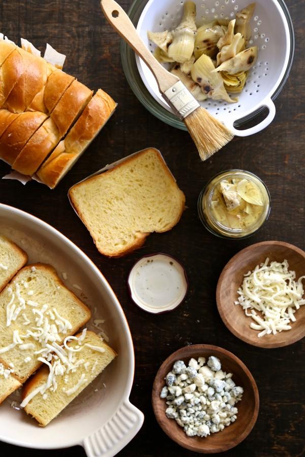artichoke bread pudding with bacon + gorgonzola