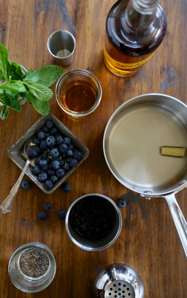 blueberry bourbon cooler with fresh mint