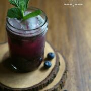 blueberry bourbon cooler with fresh mint www.climbinggriermountain.com