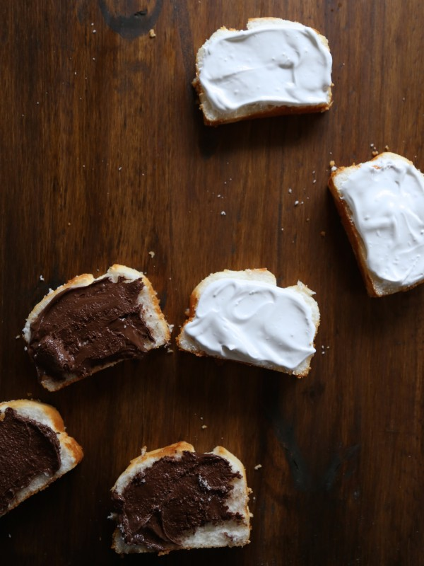 nutella s'more angel food cake sammies with marshmallow frosting