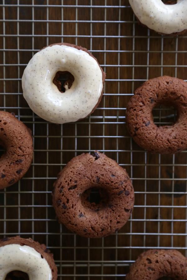 Dark Chocolate Chip Baked Doughnuts with Maple Espresso Glaze
