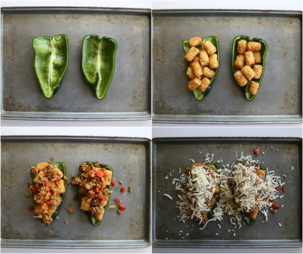 chorizo and tater tot stuffed poblanos with chipotle cream