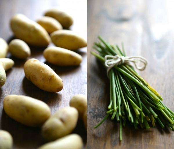 crispy salt and vinegar fingerling potatoes with fresh chives