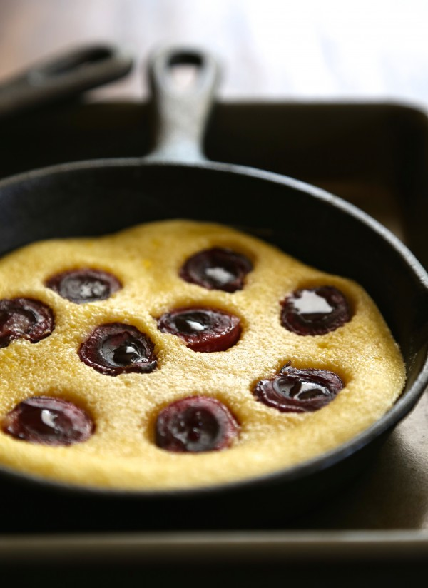 mini cherry clafoutis with chocolate whipped cream