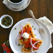 buttermilk waffles and lox with capers & creme fraiche www.climbinggriermountain.com
