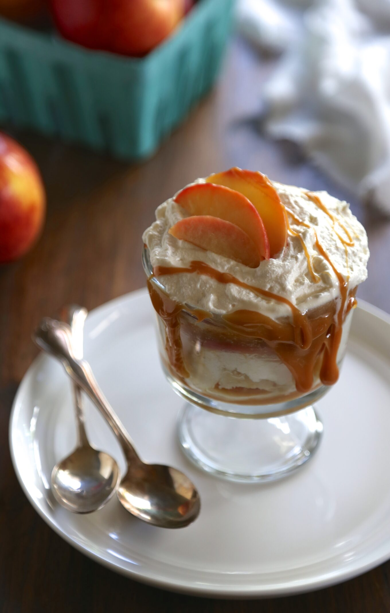 apple trifle with bourbon whipped cream + caramel drizzle - Climbing ...