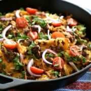 the ultimate kobe beef skillet nachos with kettle chips & fry sauce www.climbinggriermountain.com