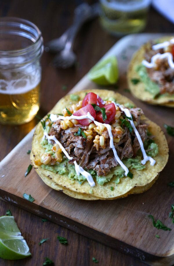 slow cooker spiced baby back rib tostadas with corn relish & creme www.climbinggriermountain.com