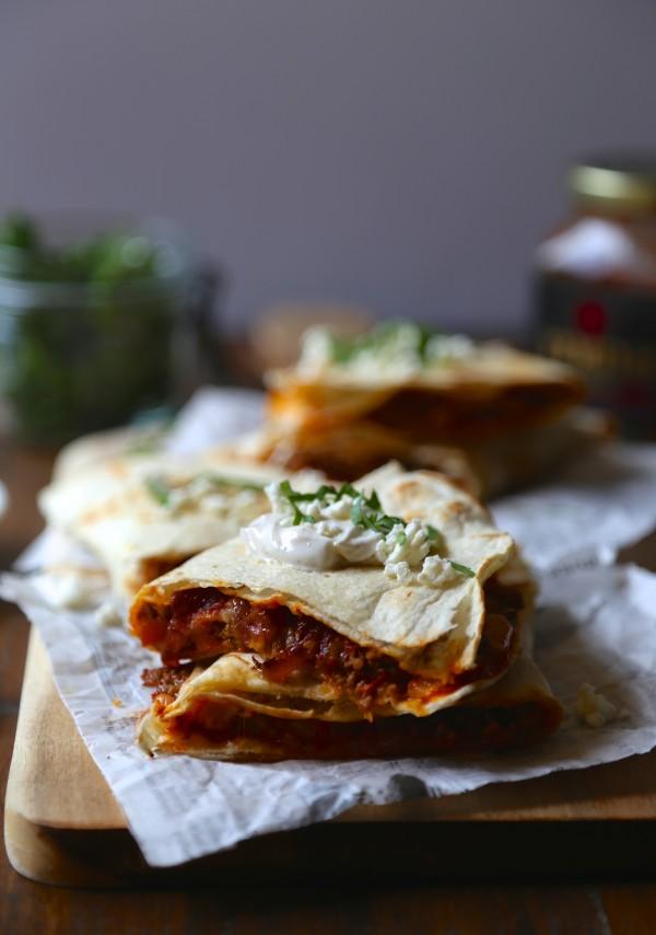 Spicy Harissa Quesadilla with Lamb, Caramelized Onions, and Cojita-Feta Cheese two