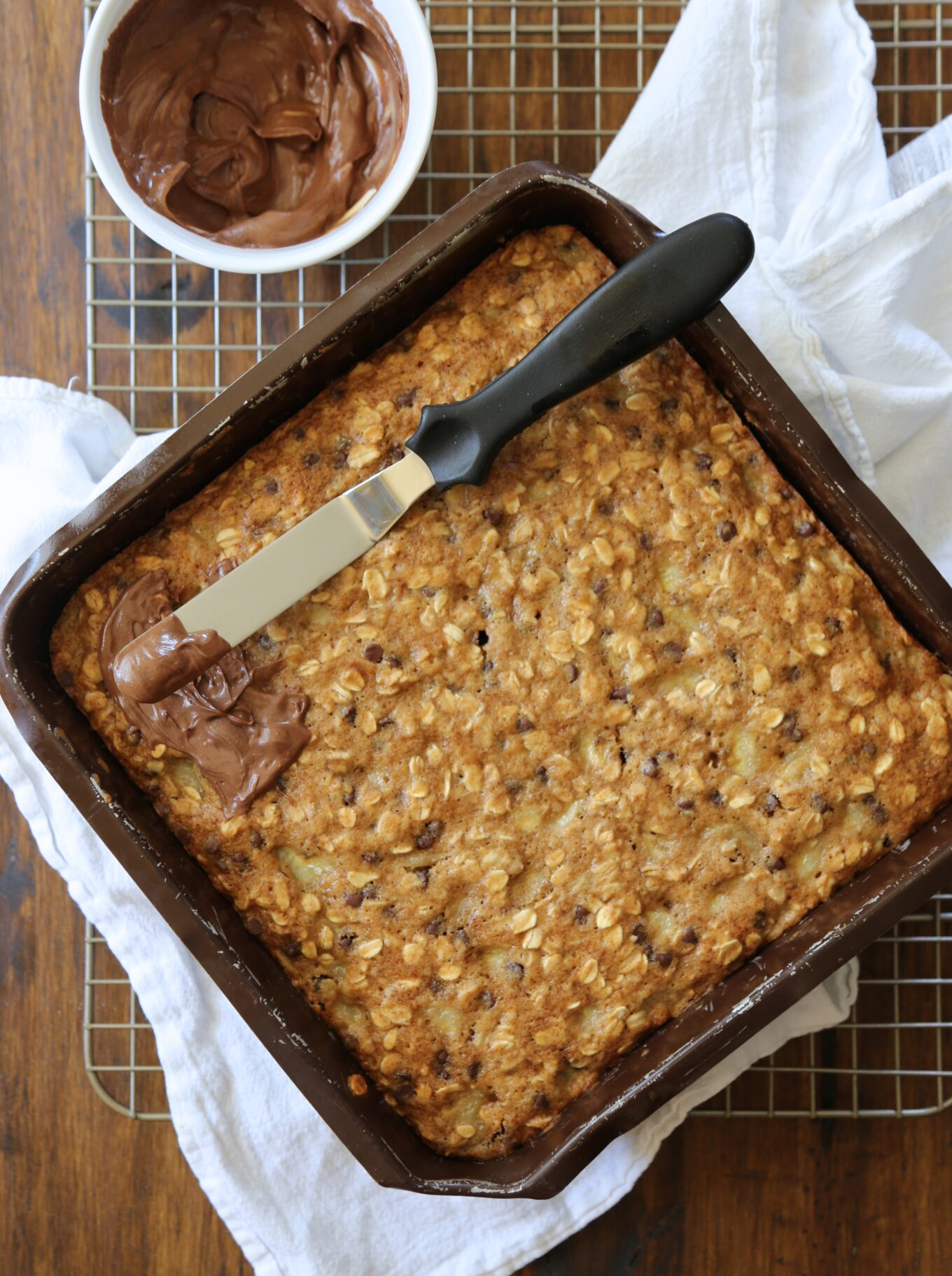 chocolate chip banana oat snack cake with peanut butter chocolate ...