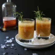 peach-rosemary bourbon sparkler www.climbinggriermountain.com