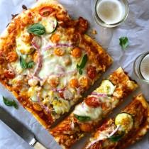 farmer's market thin crust pizza with burrata & chicken sausage www.climbinggriermountain.com