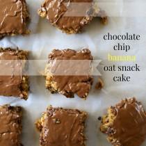chocolate chip banana oat snack cake www.climbinggriermountain.com