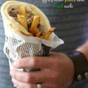 slow cooker spiced lamb gyros with frites and mint aioli