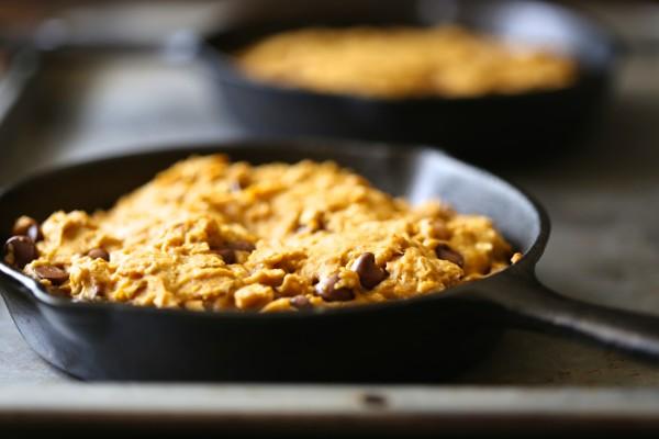 individual pumpkin granola skillet cookie