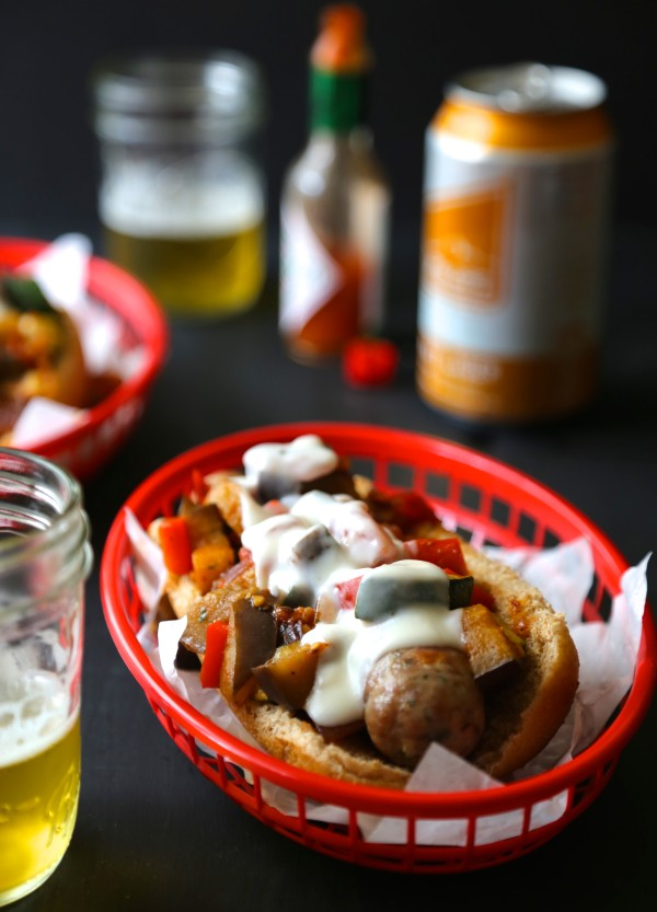 Ratatouille Beer Brats with Spicy Bechamel Sauce