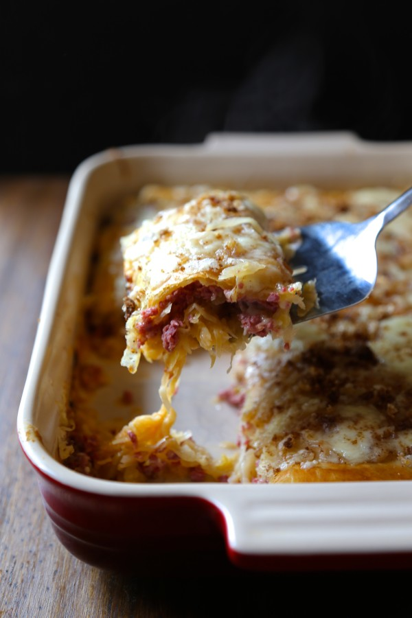 Double Layered Puff Pastry Rueben Casserole with Brown Butter Rye Breadcrumbs