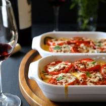 tomato and squash gratin with farro & chicken sausage