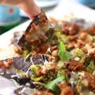 chorizo and balsamic brussels nachos