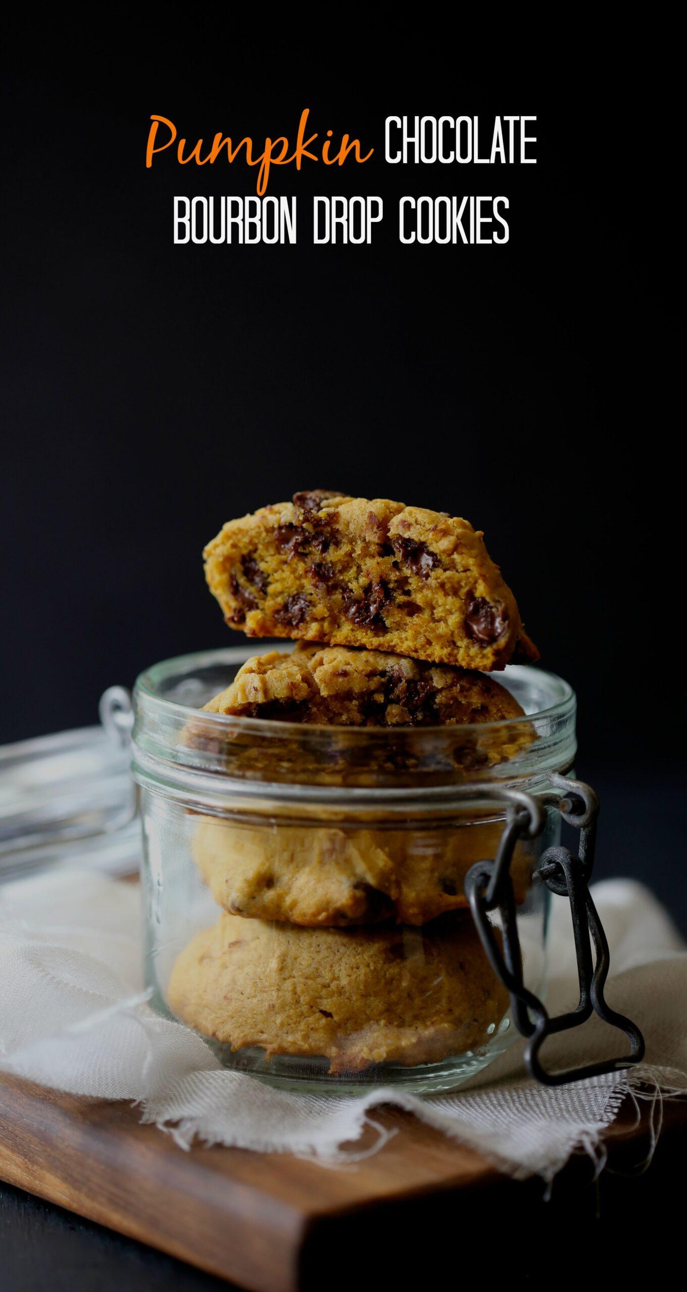 pumpkin chocolate bourbon drop cookies - Climbing Grier Mountain