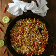 thai-glazed skillet corn with cotija cheese www.climbinggriermountain.com