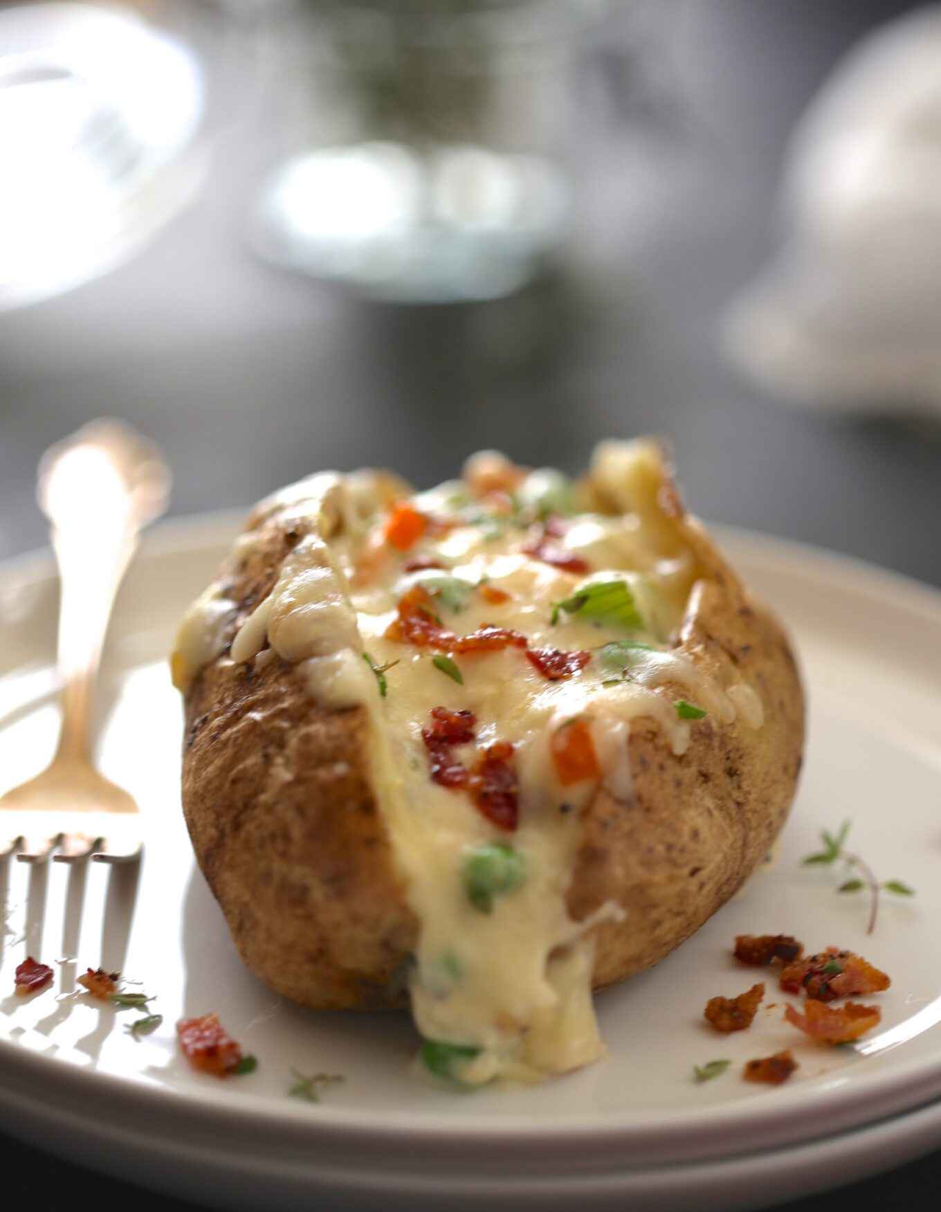 Twice Baked Chicken Pot Pie Potatoes With Crispy Bacon Climbing Grier Mountain