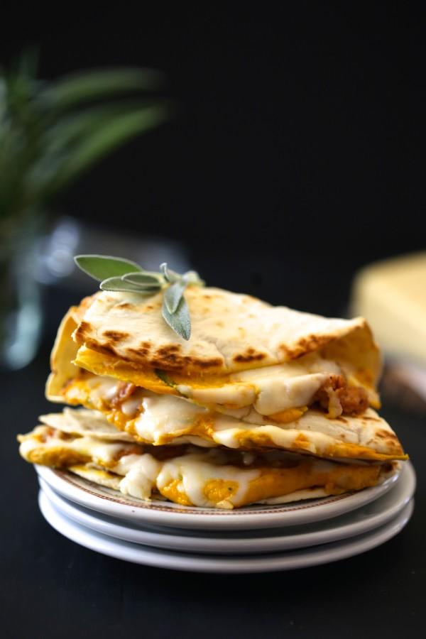 cheesy pumpkin quesadilla with fresh sage & chicken sausage