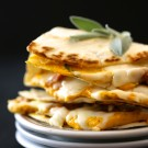 cheesy pumpkin quesadilla with fresh sage & chicken sausage www.climbinggriermountain.com