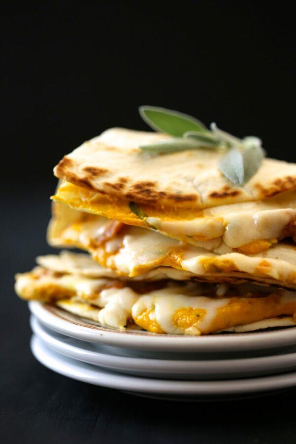cheesy pumpkin quesadilla with fresh sage & chicken sausage www.climbinggriermountain.com