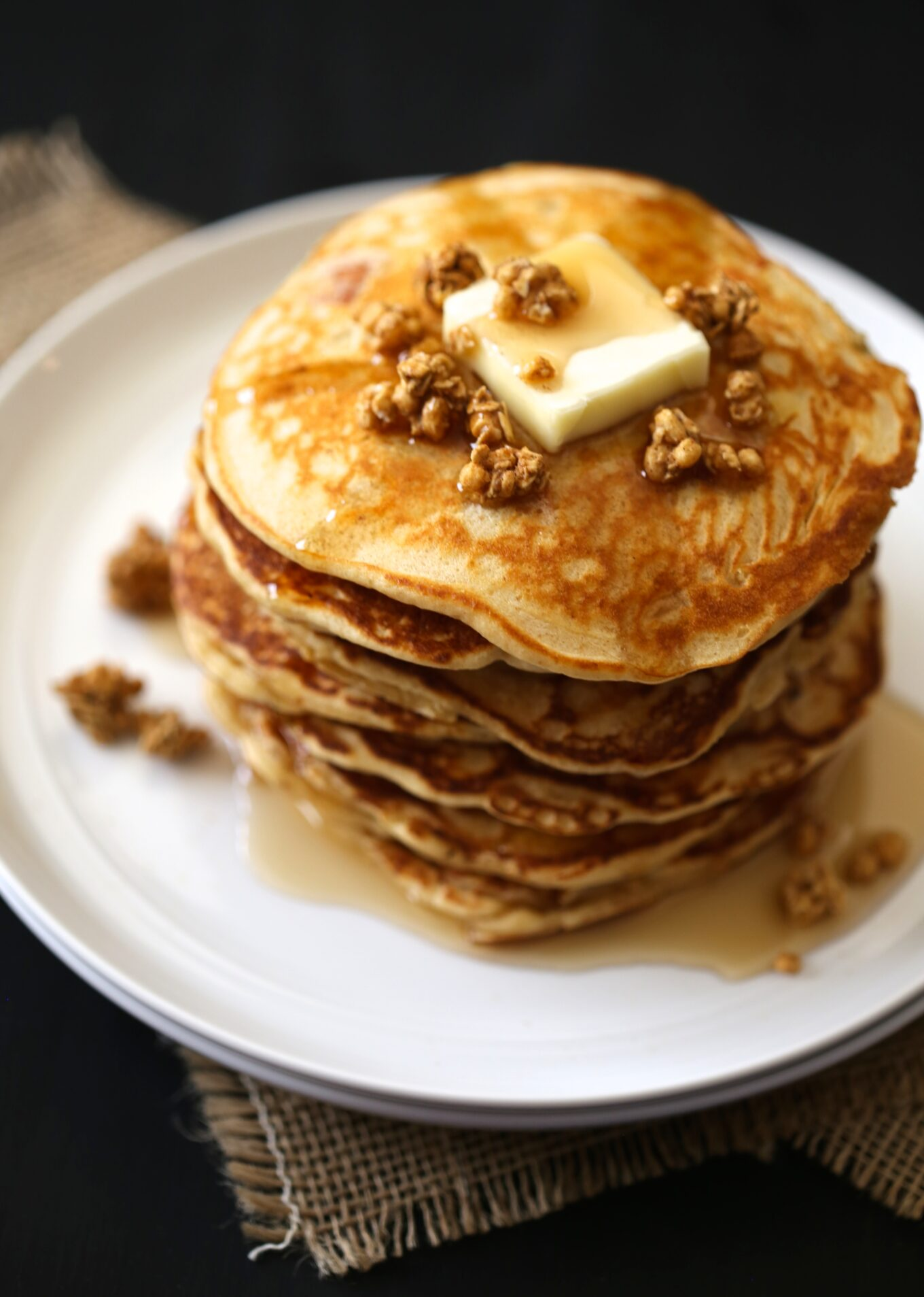 apple-gingersnap pancakes with apple crisp granola & maple syrup ...