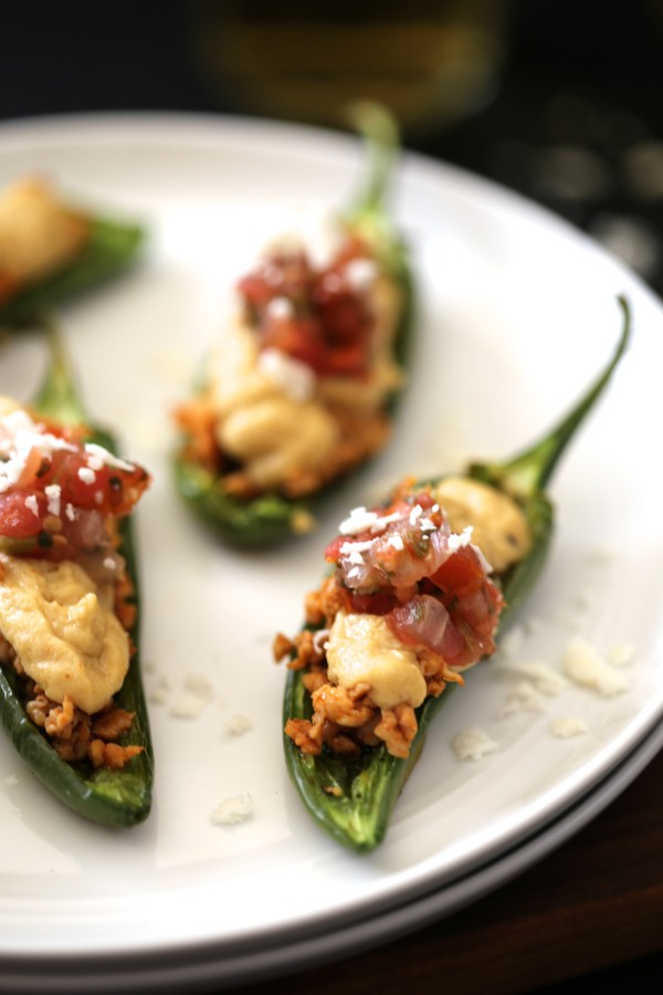 Mexican Spiced Hummus Stuffed Jalapenos with Chorizo & Cotija Cheese