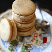 brown sugar & spice cookie sandwiches with brown butter icing