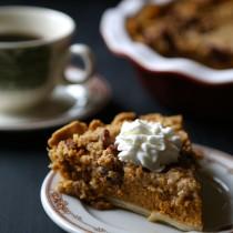 foodie fridays: bourbon pumpkin pie with cinnamon pecan streusel