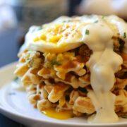leftover thanksgiving brunch waffles with fried egg & gravy