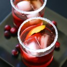 cranberry bourbon negroni with sugared rim