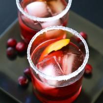 cranberry bourbon negroni with sugared rim