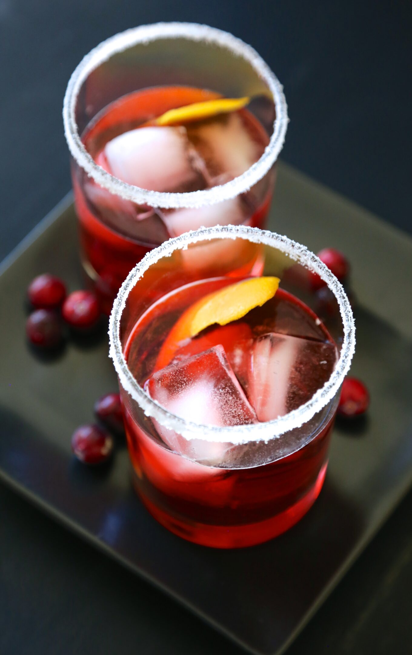 cranberry bourbon negroni with sugared rim - Climbing Grier Mountain