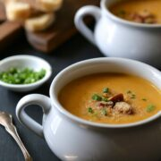 cajun pumpkin soup with andouille & spicy breadcrumbs