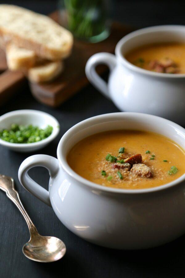 cajun pumpkin soup with andouille & spicy breadcrumbs