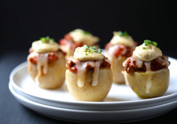 hamburger pizza stuffed mini potatoes with ranch hummus