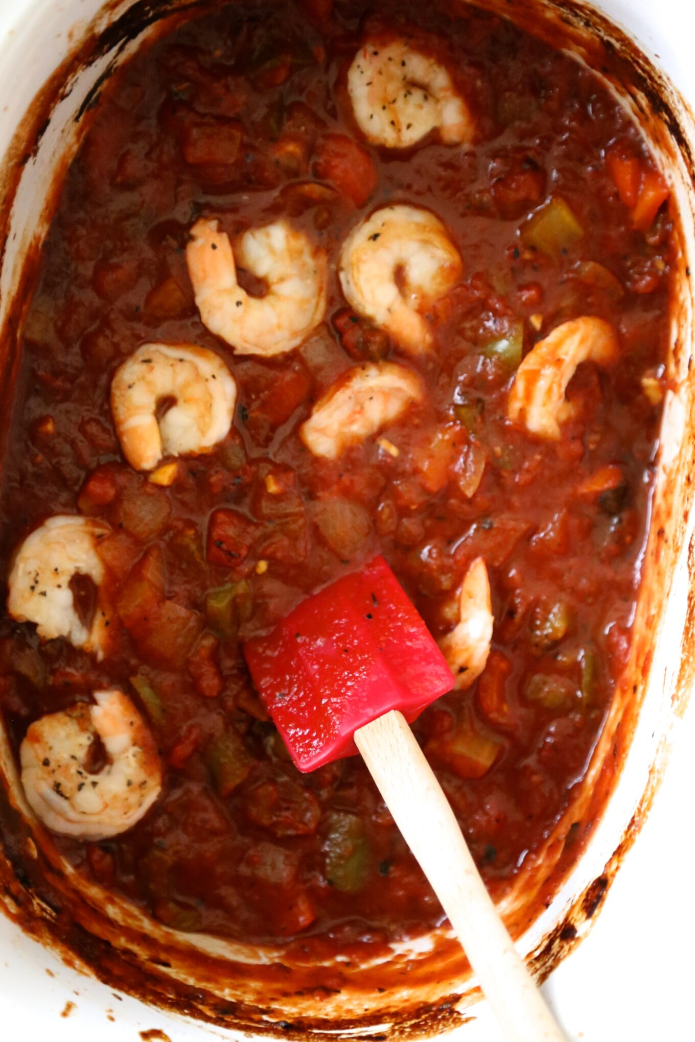 slow cooker shrimp creole with easy garlic bread - Climbing Grier ...
