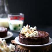 Mini Chocolate Brownies with Peppermint Frosting & White Chocolate Popcorn