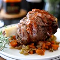 Herb Roasted Lamb shanks with Harissa Wine Sauce